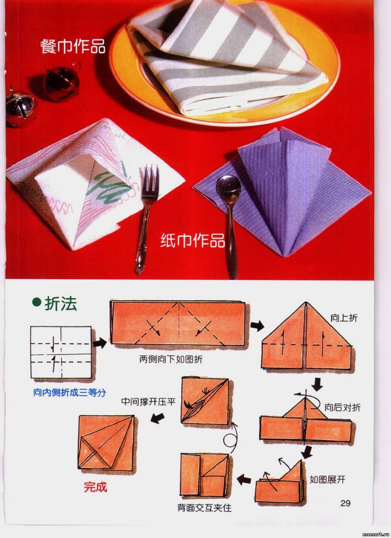 Как сложить бумажные салфетки фото и схемы